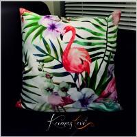 Kumaş Evi Dekoratif Yastık Kılıfı - Flamingolu Beyaz Çiçekli