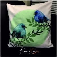Kumaş Evi Dekoratif Yastık Kılıfı - Mavi Serçeler