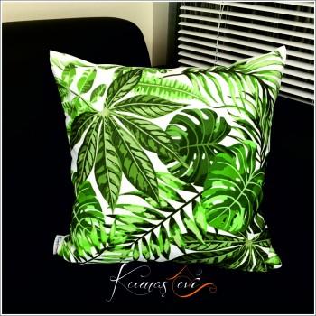 Kumaş Evi Dekoratif Yastık -Yeşil Yapraklı Yastık Kılıfı