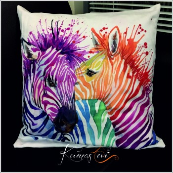 Kumaş Evi Dekoratif Yastık Kılıfı  - İkili Renkli Zebra
