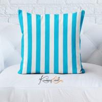 Kumaş Evi Dekoratif Yastık Kılıfı - Çizgi Mavi