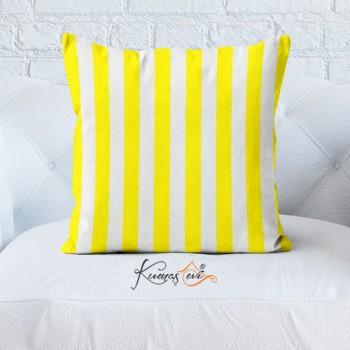 Kumaş Evi Dekoratif Yastık Kılıfı - Çizgi Sarı