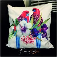 Kumaş Evi Dekoratif Yastık - Papaganlı Çiçek Yastık Kılıfı
