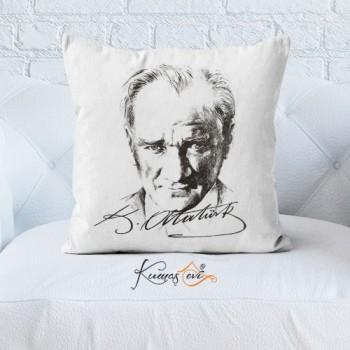 Kumaş Evi Dekoratif Yastık Kılıfı  - 7 - Atatürk